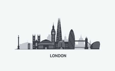 clock tower: graphics, flat city illustration Illustration
