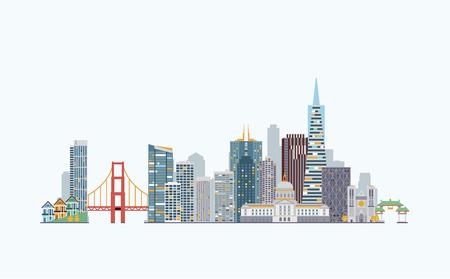 graphics, flat city illustration Vettoriali