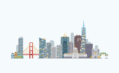 graphics, flat city illustration 向量圖像