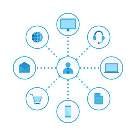 グラフィック、フラット アイコン。デジタル マーケティングの図