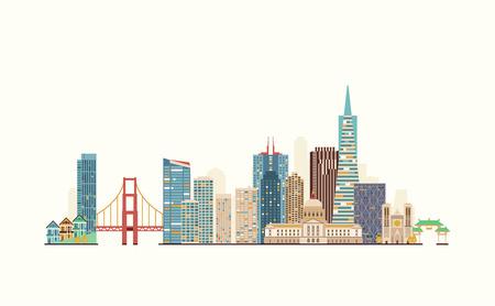 Grafiken, flache Stadt Illustration Vektorgrafik