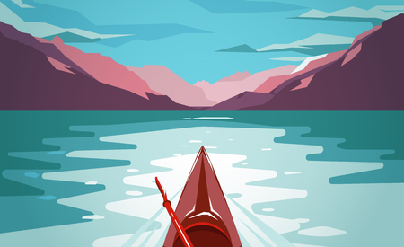 Flat style illustration. Fun outdoor journey kayak