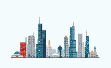Vector graphics, platte stad illustratie eps 10 Stock Illustratie