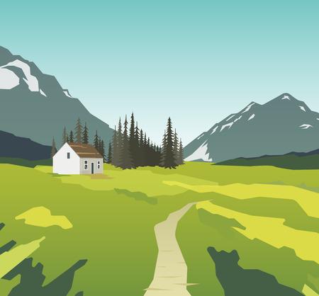 rockies: Summer vector illustration, nature landscape eps 10