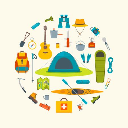 travel burner: Tourist camp tools. Set of outdoor elements.