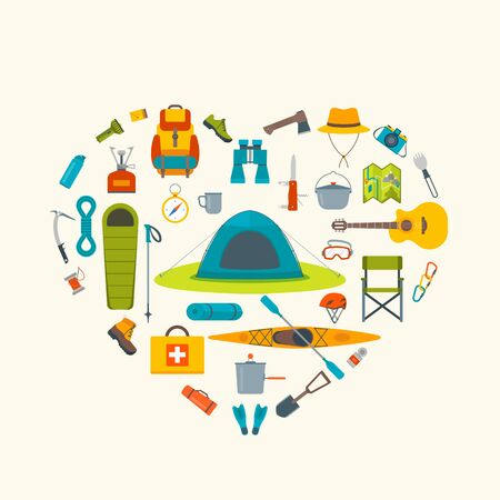 category: Love camping concept . Set of outdoor elements. Illustration