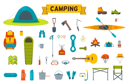 Tourist camp tools. Set of outdoor elements.