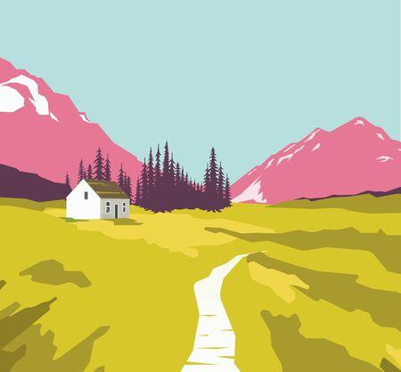 rockies: Summer vector illustration, nature landscape Illustration