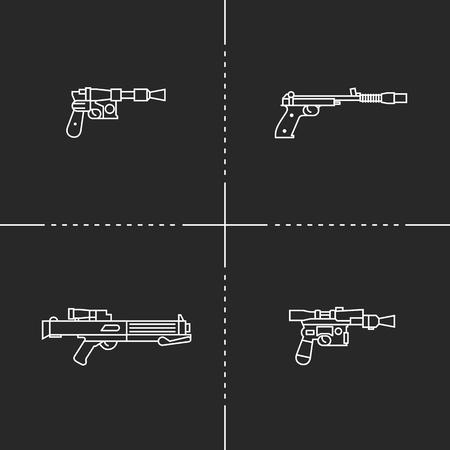 Fantastic weapons vector flat illustration on black background