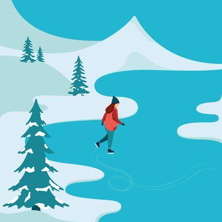 winter girl: Girl skating on the winter lake. Vector illustrations.