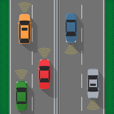 autobahn: Futuristic cars with sensing and communication. Vector Illustrations