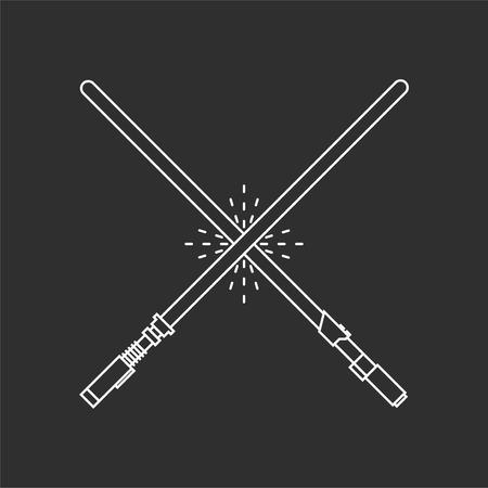 Twee licht zwaarden op een zwarte achtergrond. vector illustraties Stock Illustratie