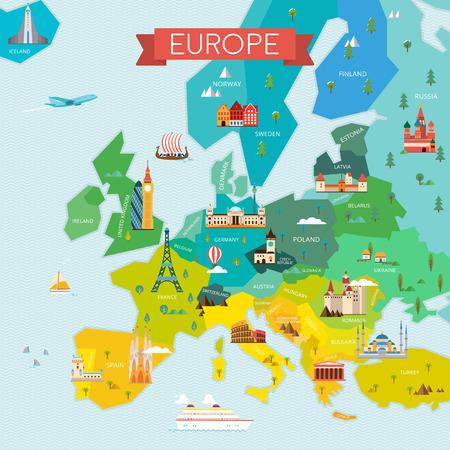 名前を持つヨーロッパの地図。
