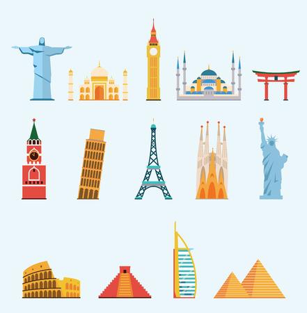 World famous travel landmarks Illustration