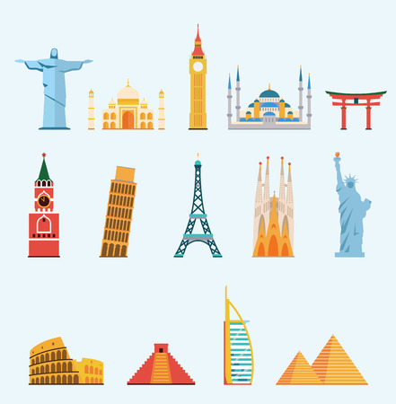 World famous travel landmarks Ilustração