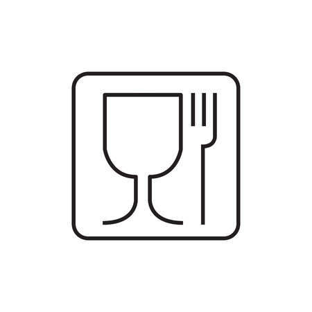 Fork and glass simple black sign. Vectores