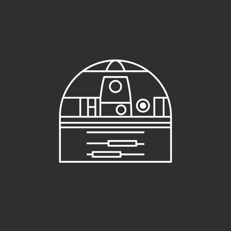 wars: Droid in thin outline style. Vector illustrations Illustration