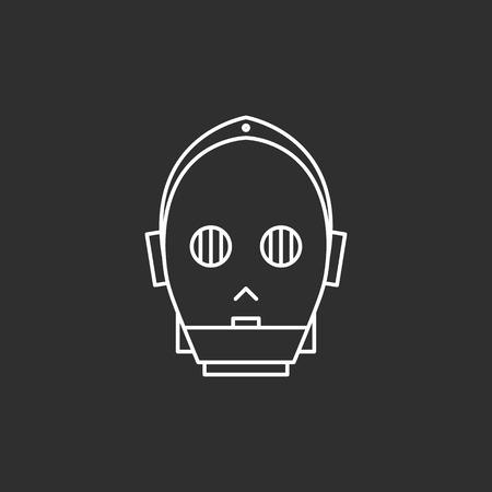 Droid in dunne lijnen stijl. vector illustraties