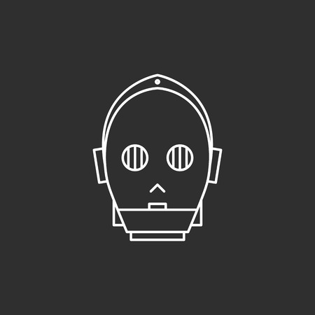 Droid in thin outline style. Vector illustrations Vettoriali