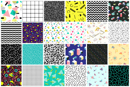 Abstract seamless patterns 80s-90s styles. Imagens - 71256890