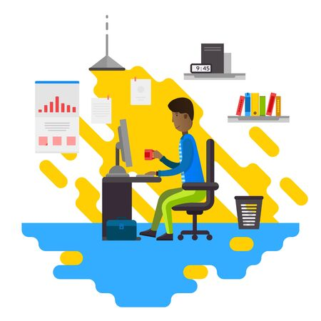 ceo office: Business person sitting on the computer. Man working at the table