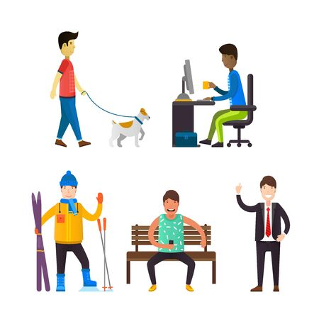 dog walking: Man walking with dog. Business person sitting on the computer. Skier with equipment. Young man sitting on a bench.