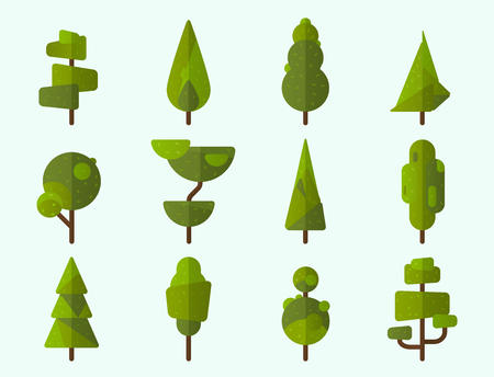 Collection of geometric trees, pine trees and other type of trees. Vector illustrator