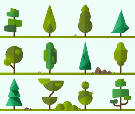 Colección de árboles geométricos, pinos, hierba y otro tipo de plantas. Ilustrador de vectores Ilustración de vector