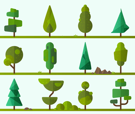 plants and trees: Collection of geometric trees, pine trees, grass and other type of plants. Vector illustrator