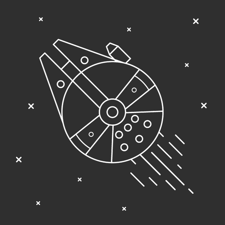 Flying a spaceship in outer space. Stock Illustratie