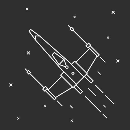 Vliegen van een ruimteschip in de buitenruimte. Stock Illustratie