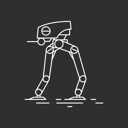 Futuristic tank in outline style. Vector illustrations
