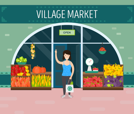 Local shop with happy woman. Natural product. Village market. Flat vector illustration.