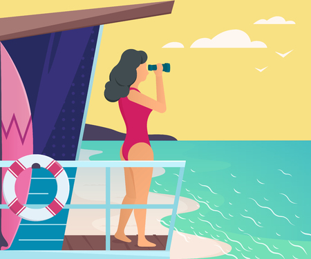 water waves: Lifeguard looking through binoculars. Summer vector illustration Illustration