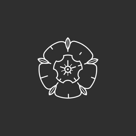 Rose icon in thin outline style. Vector illustrations