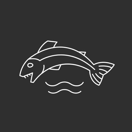 Fish and waves icon in thin outline style. Vector illustrations