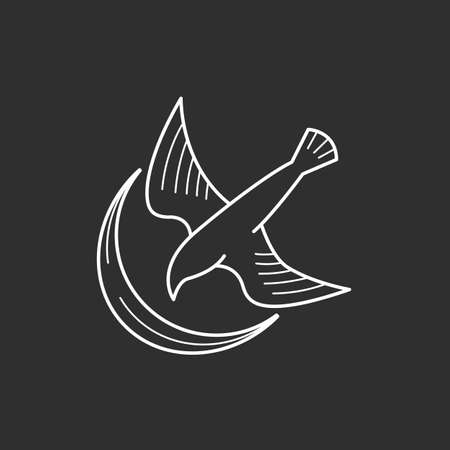Bird and moon icons in thin outline style. Vector illustrations