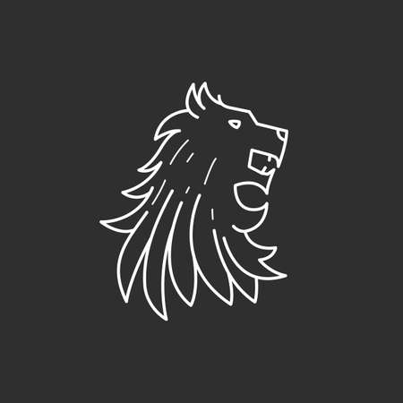 Lion head icon in thin outline style. Vector illustrations