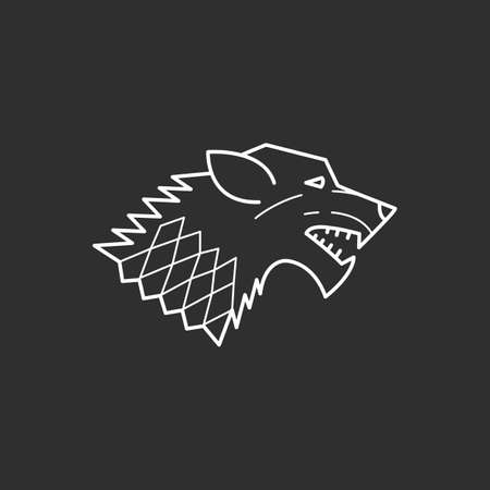 Wolf icon in thin outline style. Vector illustrations Illustration