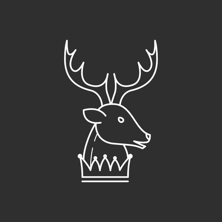 Deer head and crown in thin outline style. Vector illustrations