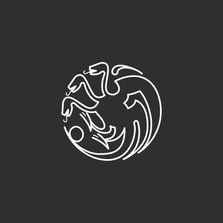 Dragon icon in thin outline style. Vector illustrations