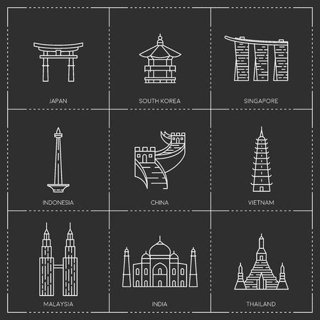 Asian famous landmarks. Ilustrace