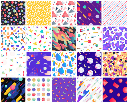 Geometric seamless patterns. 矢量图像