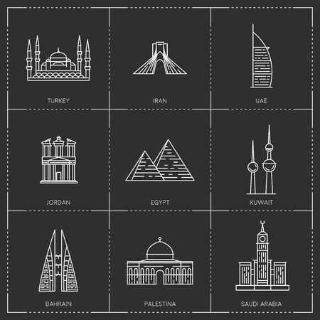 Middle East landmarks. The collection include Turkey, Iran, UAE, Jordan, Egypt, Kuwait, Bahrain, Palestina and Saudi Arabia famous buildings and monuments. Stock Illustratie