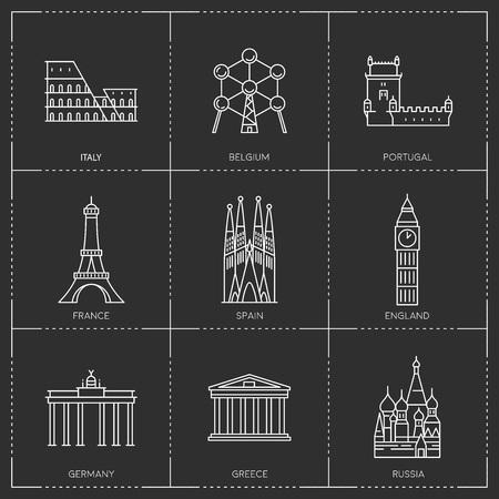 Punti di riferimento dell'Europa. Illustrazioni in stile contorno Archivio Fotografico - 86736201