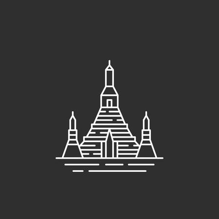 タイのランドマーク。アウトライン スタイルの藻類  イラスト・ベクター素材