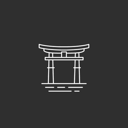Japan landmark. Illustations in outline style Ilustração