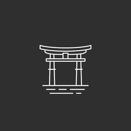 Japan landmark. Illustations in outline style Stock Illustratie