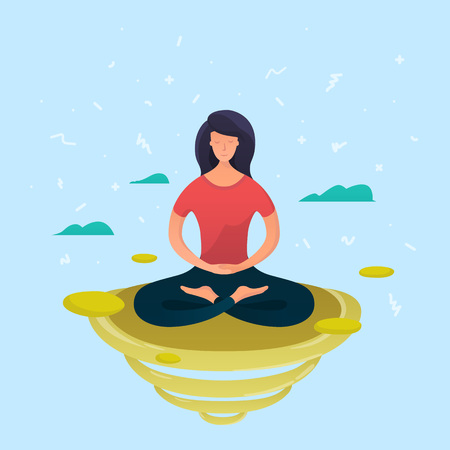 Young woman meditating in lotus pose.