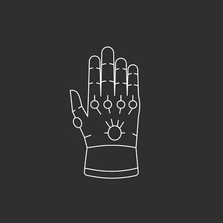 Glove with gems. Illustration